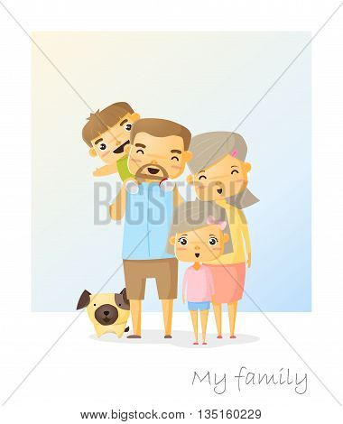 Cute family portrait  Happy family background, vector, illustration