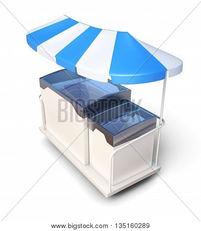 Mobile freezer with ice cream isolated on a white background. With canopy. 3d rendering