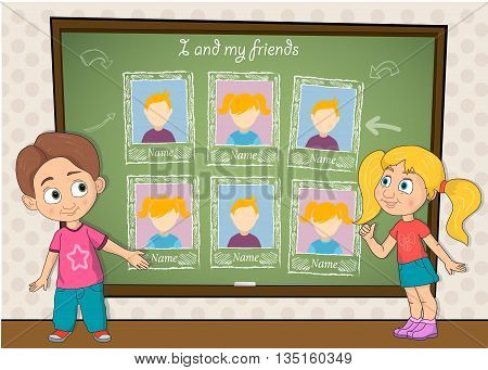 Yearbook for school with boy and girl with chalkboard vector