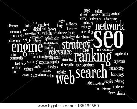 Concept or conceptual search engine optimization, seo abstract word cloud isolated on background