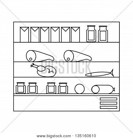 Products in supermarket fridge icon in outline style on a white background