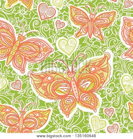 Vector Seamless Pattern With Colorful Butterflies.