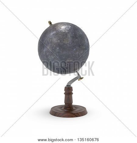 Globe map of mercury 3d rendering on white backround