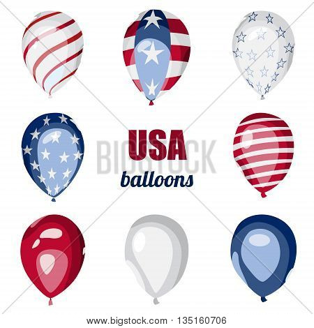 Set of american styled vector balloons. Flag of USA on balloons. Celebration elements. Independence Day. 4th of July. Balloons on the feast of the national day.