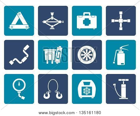 Flat car and transportation equipment icons - vector icon set