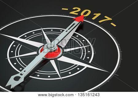 Conceptual 2017 year compass 3D renderingon black background