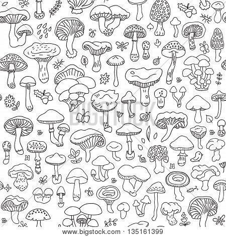 Vector seamless pattern with mushrooms. Autumn forest. Endless texture for wallpaper fill web page background surface texture.