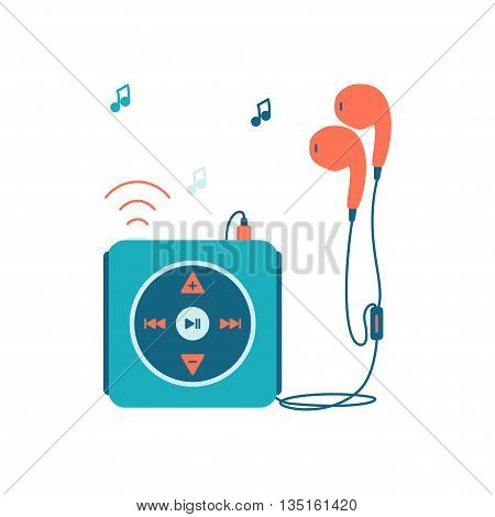 Music player with headphones. Music device flat icon. Vector illustration on white background. Mp3 player over White.