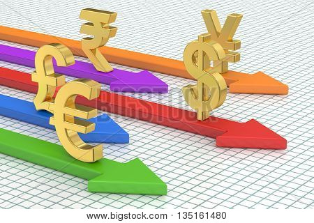 money concept, global currencies with arrows. 3D rendering