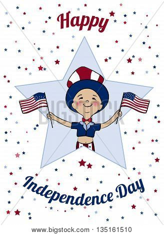 Happy USA Independence Day card. Boy dressed in uncle Sam costume with American flags. Boy dressed in american flag colors on parade. 4th of July national holiday vector design.