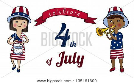 Girl and boy dressed in colors of american flag with drum and trumpet. 4th of July greeting card or banner. Children on USA Independence Day parade. America national celebration vector cartoon design.