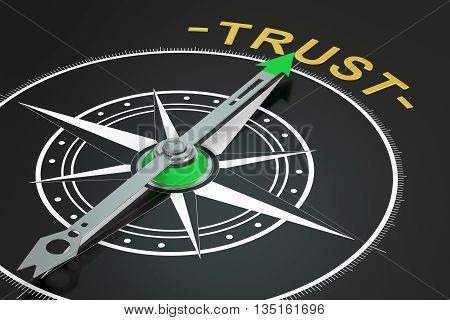 Trust compass concept 3D rendering on black background