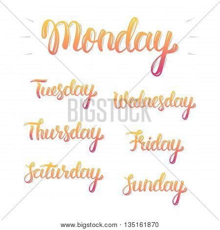 Trendy hand lettering set of days of the week fashion graphics art print. Calligraphic colored isolated set. Vector illustration