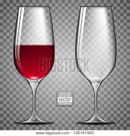two glasses of wine, one of which been poured red wine