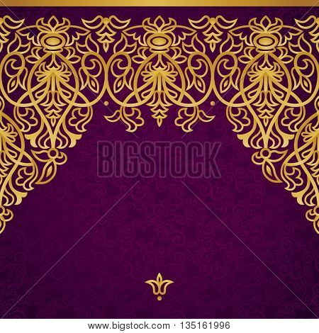 Vector seamless border in Victorian style. Element for design. Place for your text. Gold pattern. It can be used for decorating of wedding invitations greeting cards decoration for bags and clothes.