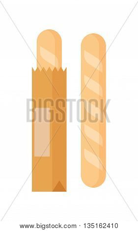 illustration of isolated shopping bag with bread on white