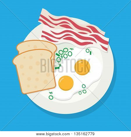 delicious dish of fried eggs bacon served with parsley bread onions