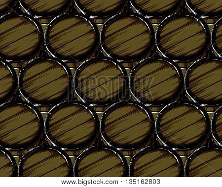 seamless texture consisting of wooden barrels of beer caps, freehand drawing