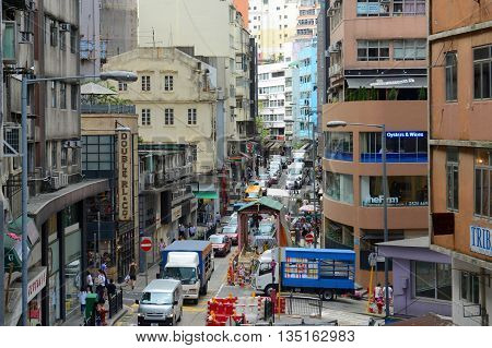 HONG KONG - NOV 9: Historic Hollywood Road is the first road built in British Colonial era in 1841 on Nov 9, 2015 in Hong Kong Island, Hong Kong.