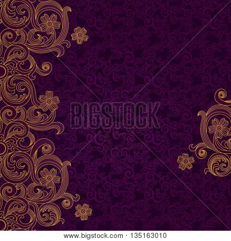Vector border in Victorian style. Element for design. Place for your text. Gold pattern. It can be used for decorating of wedding invitations greeting cards decoration for bags and clothes.