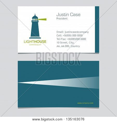 Lighthouse business sign & Business card vector template. Lighthouse & abstract waves icon. Nautical banner. Corporate identity template. Editable layered vector illustration. Sample text.