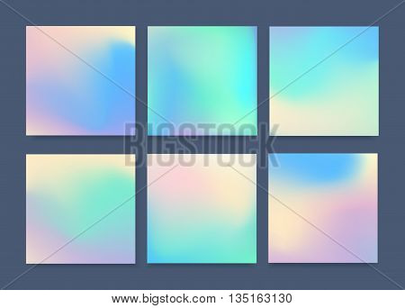 Set of 6 realistic holographic backgrounds in different colors for design.