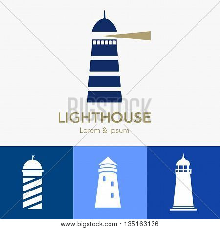 Lighthouse business sign set vector template. Lighthouse & abstract waves icon. Nautical banner. Corporate identity template. Editable layered vector illustration. Sample text.