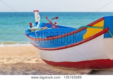Traditional Portuguese fishing boat. In Armacao de Pera.