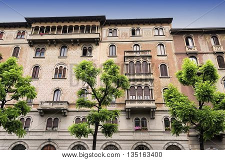 Milan (Lombardy Italy) facade of restored residential buildings