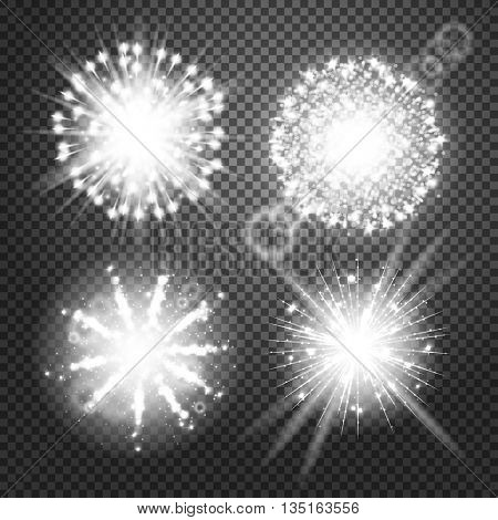 Vector Glowing lights Effects isolated on transparent background. Flash Effects with Transparency. Firework Isolated Pictograms, Lens Effects, Glowing lights, flares, rays, Stars, sparkles, Bokeh set