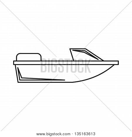 Sports powerboat icon in outline style isolated on white background. Sea transport symbol
