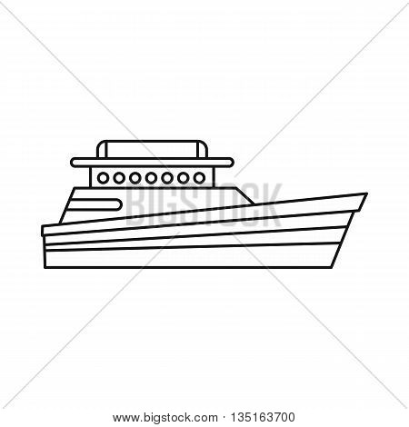 Great powerboat icon in outline style isolated on white background. Sea transport symbol