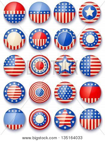Vector set icons with symbols of the USA for 4th july american independence day