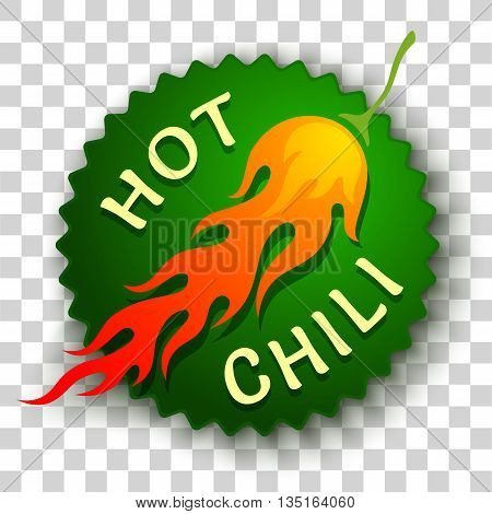 Vector sticker with chili pepper in fire