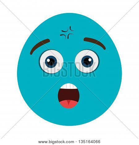 blue cartoon orbed face with surprised expression and open mouth over isolated background, vector illustration