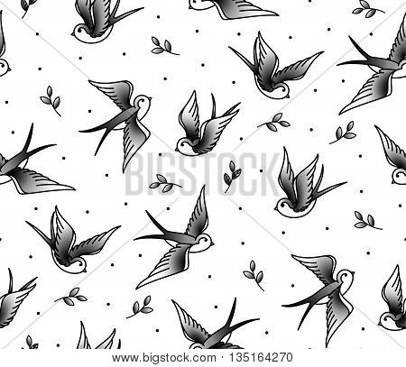 Pattern Seamless with swallows and the plant in an old school tattoo. Monochrome pattern of birds.
