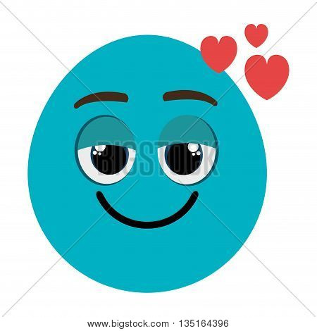 blue cartoon orbed face  with red heart icons over isolated background, vector illustration