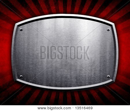 metal plate on retro background