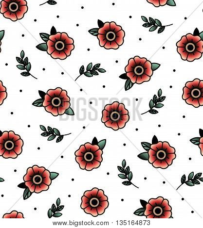 Old school tattoo vector seamless pattern with flower twig .