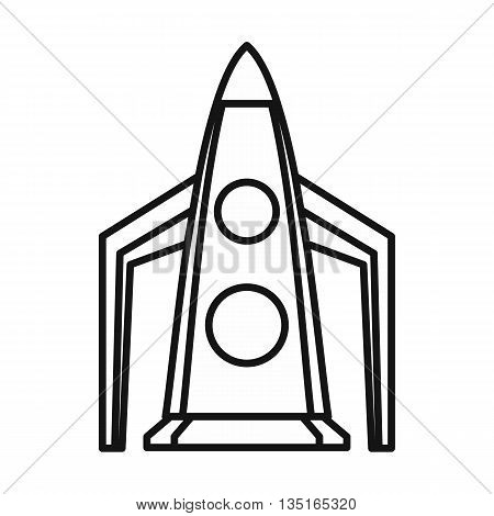 Rocket icon in outline style isolated on white background
