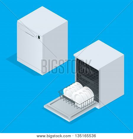 Dishwasher full of utensils isolated against white background. 3d isometric vector illustration