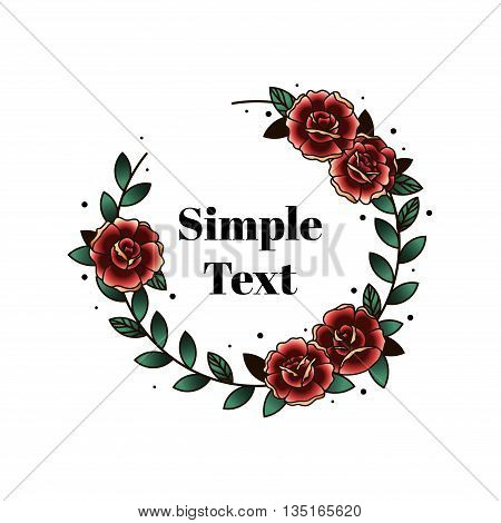 Circle with roses in retro tattoo style. Postcard with blooming red flowers. Thank you to the place for your text. Roses flowers vector illustration