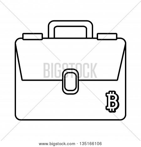 man briefcase with bitcoin signal over isolated background, vector illustration