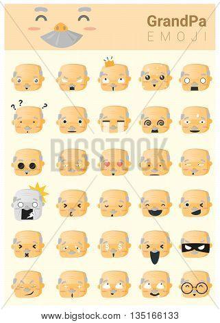 Grandpa imoji icons , vector , illustration
