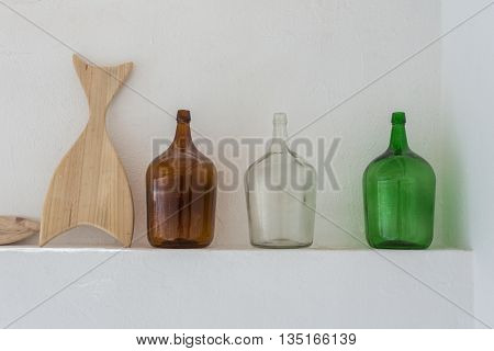 Jars and board for decoration and storage of wine. Portuguese traditional.