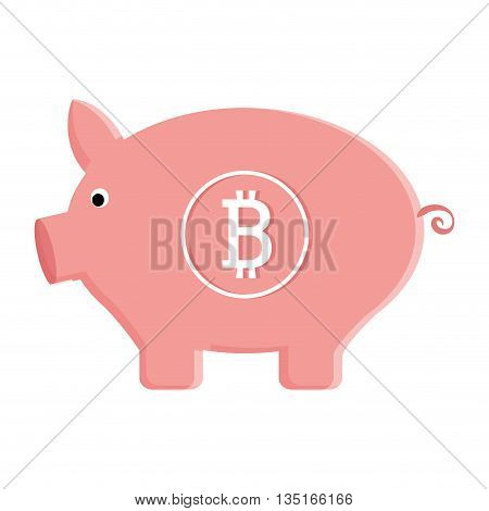 pink pig moneybox with bitcoin signal over isolated background, vector illustration