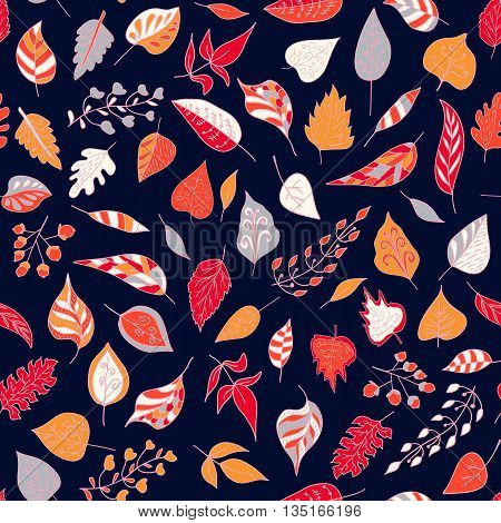 Seamless pattern with colored autumn leaves  on a dark background. Vector illustration Seamless pattern can be used for pattern fills surface textures.