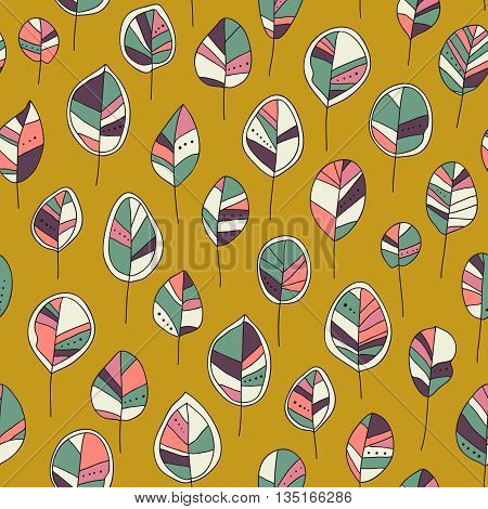 Seamless pattern with colored autumn leaves  on a yellow background. Vector illustration Seamless pattern can be used for  pattern fills surface textures.