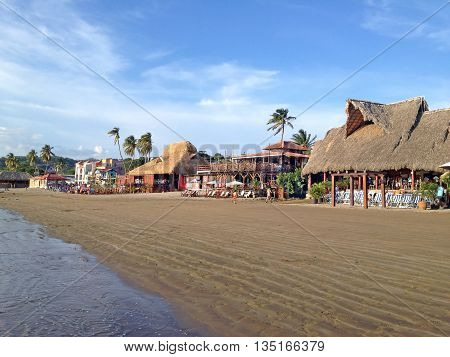 SAN JUAN DEL SUR NICARAGUA - SEPTEMBER 21 2015: Sandy beach in San Juan del Sur on the Pacific coast