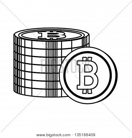 group of money coins with bitcoin signal over isolated background, vector illustration